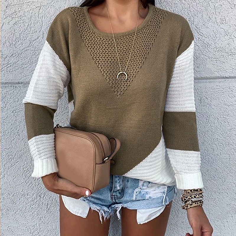Lovely Leisure Patchwork Brown Sweater