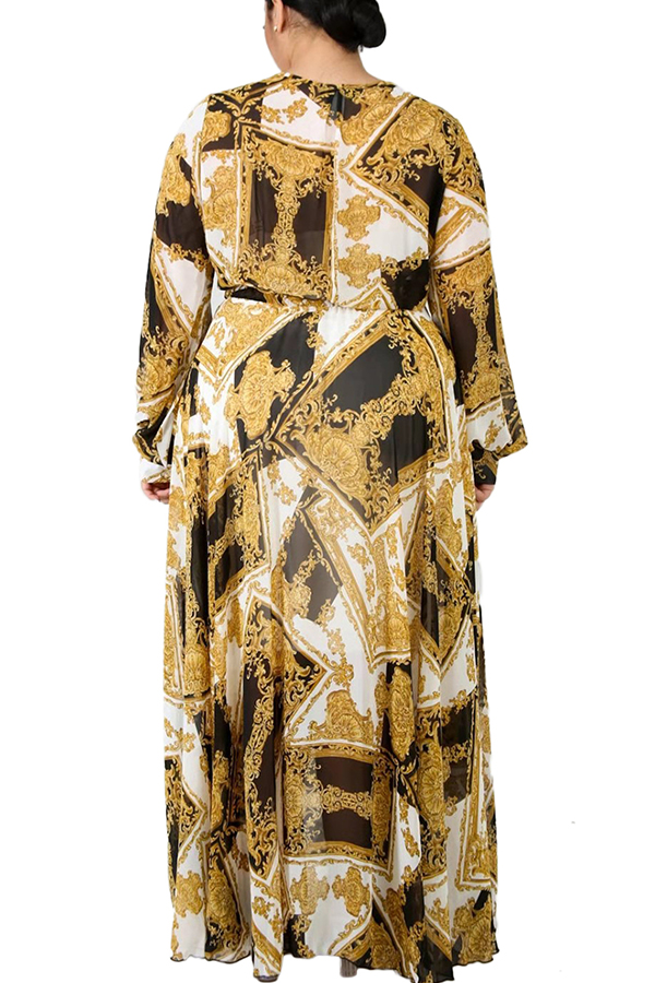 Lovely Casual V Neck Printed Yellow Floor Length Plus Size Dress