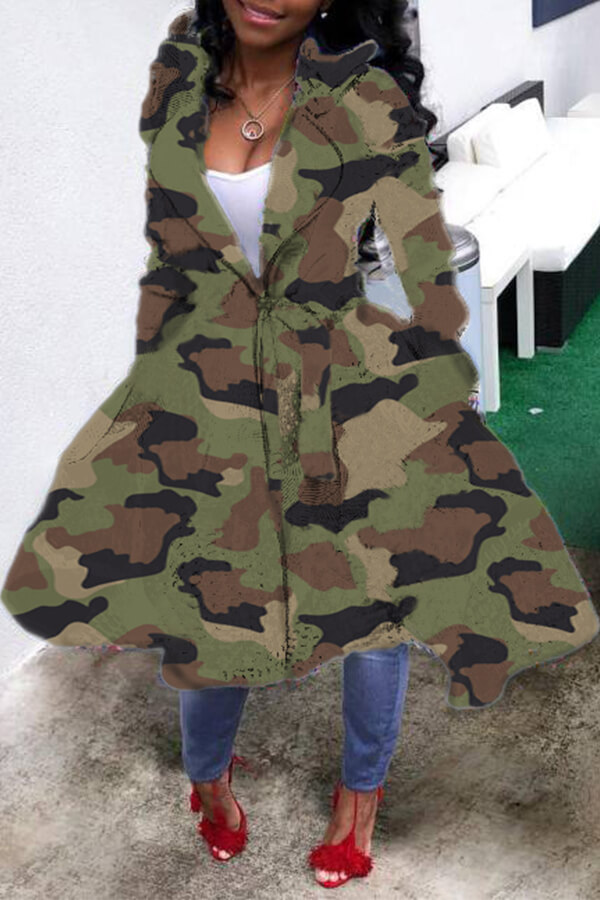 Coat&Jacket Lovely Casual Camouflage Printed Long Coat фото