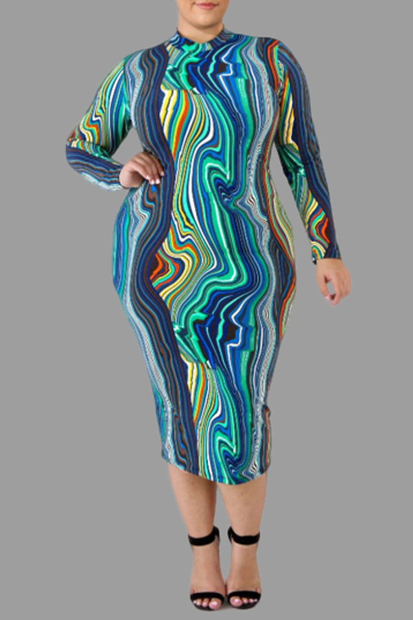 Lovely Casual Printed Blue Knee Length Plus Size Dress