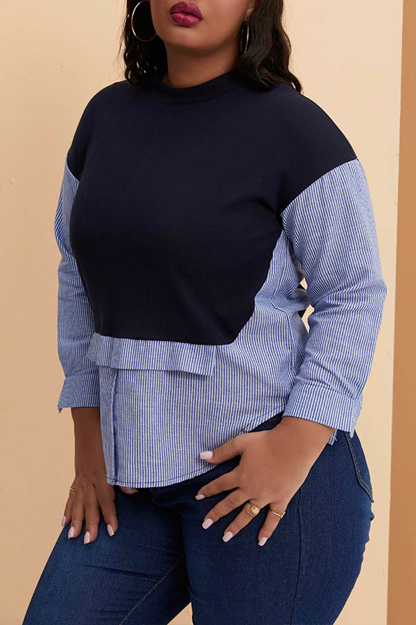 Lovely Casual Patchwork Blue Plus Size Blouse