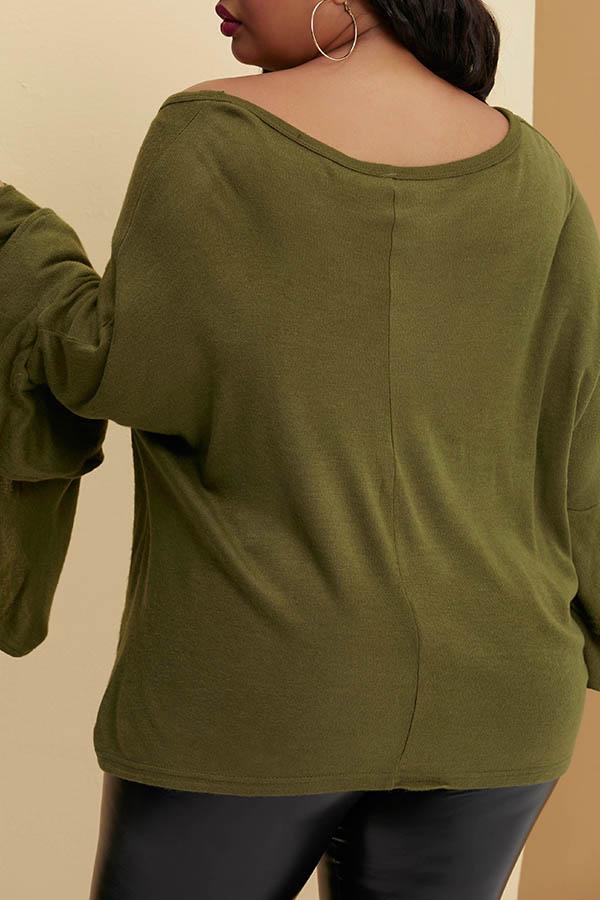 Lovely Trendy Flounce Design Green Plus Size Blouse