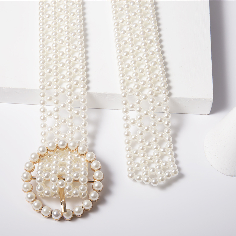 Lovely Trendy White Pearl Belts