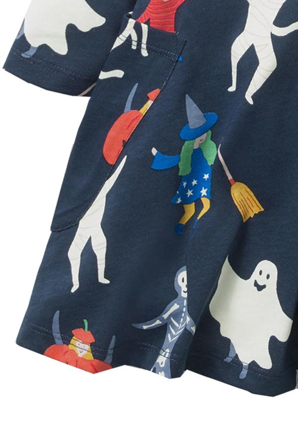 Lovely Halloween Printed Navy Blue Knee Length Girls Dress