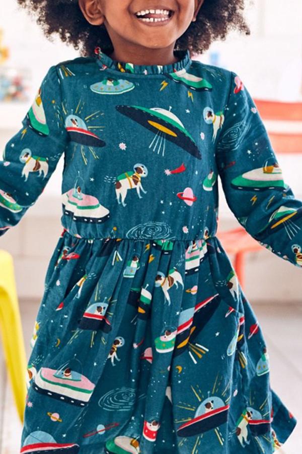 Lovely Sweet Printed Blackish Green Knee Length Girls Dress