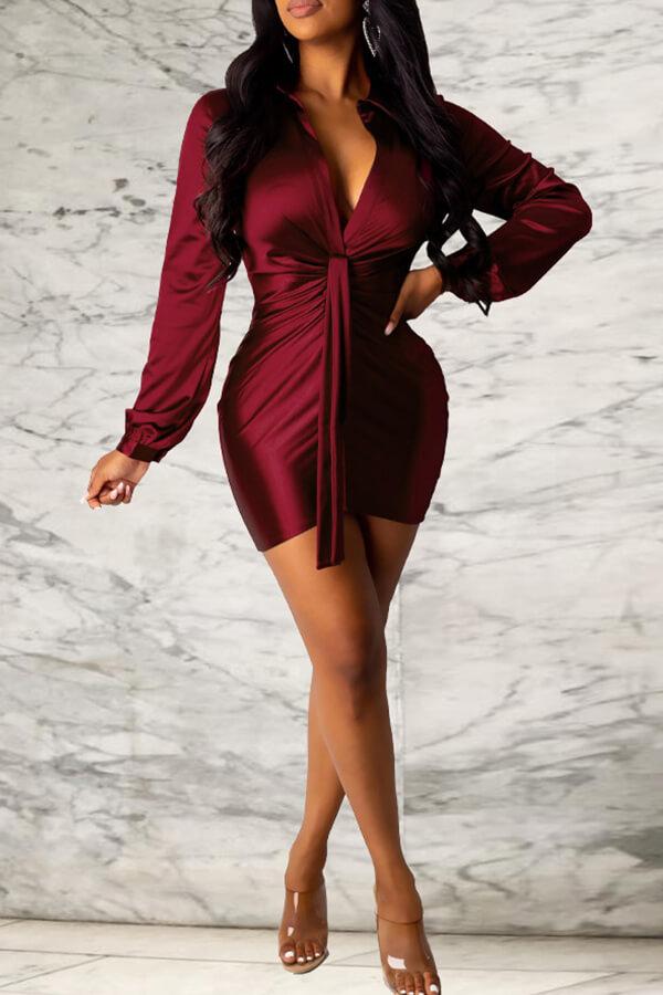 Lovely Sweet Ruffle Design Wine Red Mini Evening Dress