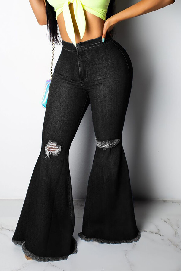 Lovely Casual Broken Holes Grey Black Jeans фото