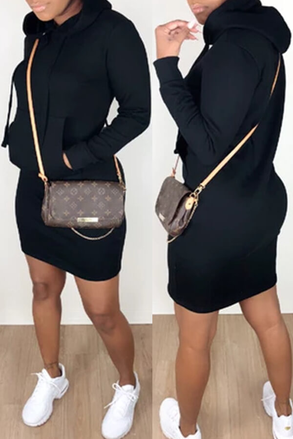Daily Dress Lovely Casual Hooded Collar Black Mini Dress фото