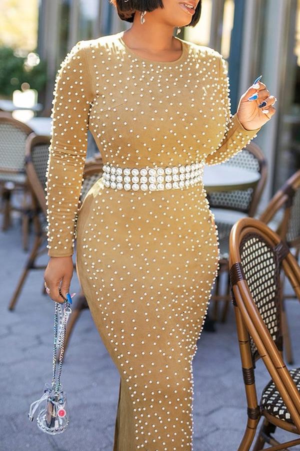 Lovely Sweet Nail Bead Design Khaki Ankle Length Dress