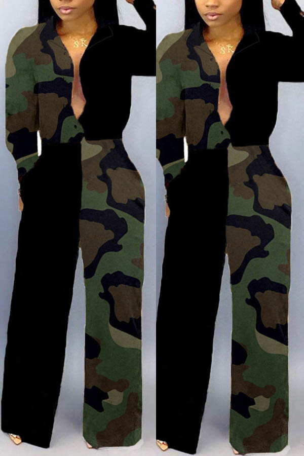 Lovely Trendy Patchwork Camouflage Printed Army Gr