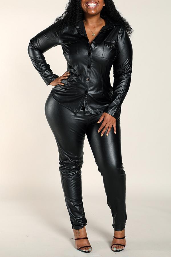 Lovely Work Skinny Black Plus Size Two-piece Pants Set