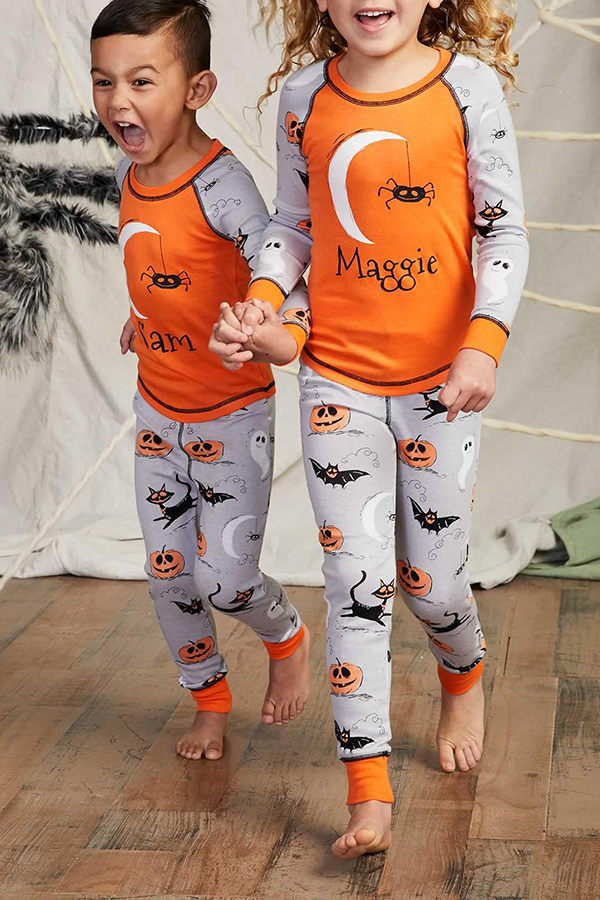 Lovely Halloween Printed Orange Girls Two-piece Pants Set