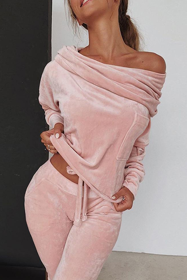 Lovely Casual Basic Pink Two-piece Pants Set