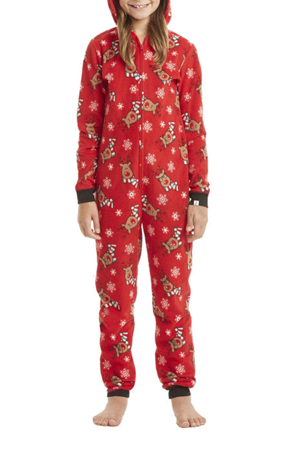 Lovely Family Printed Red Girls One-piece Jumpsuit