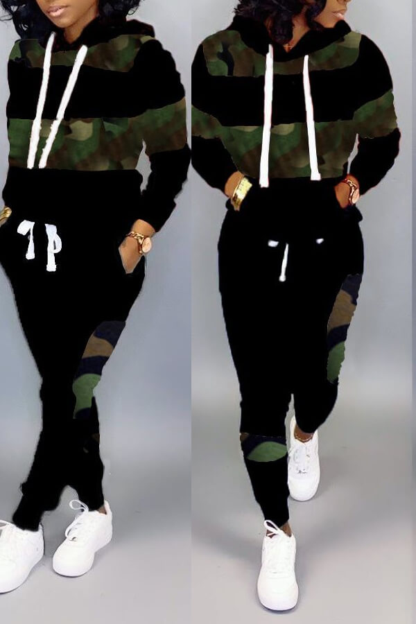 LW Casual Patchwork Camouflage Printed Black Two-piece Pants Set