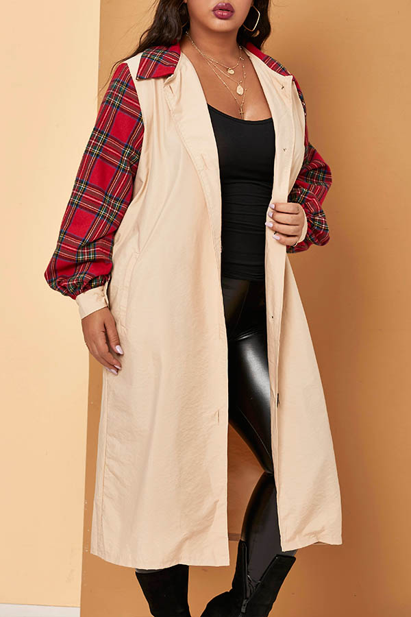 Lovely Casual Patchwork Apricot Plus Size Trench Coat