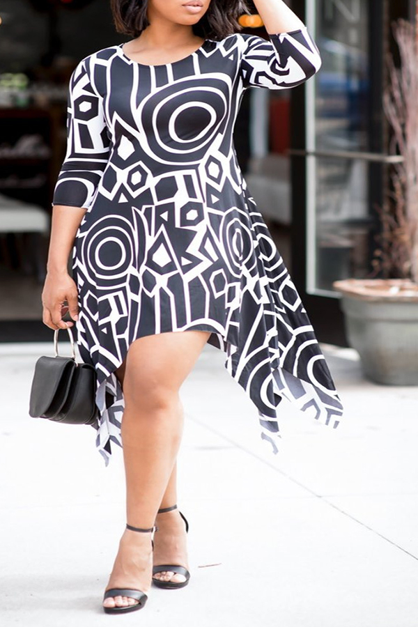 Lovely Casual Asymmetrical Printed Black And White Knee Length Dress