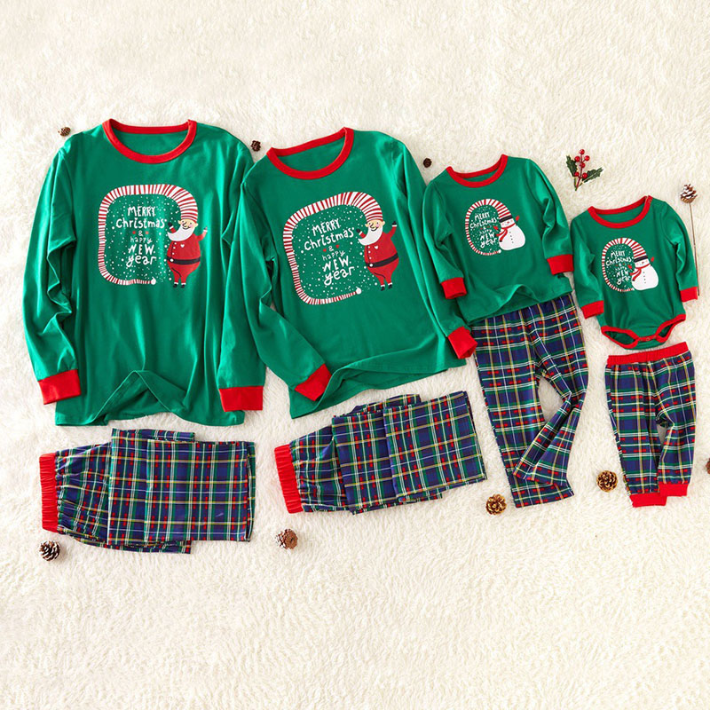 Lovely Family Santa Claus Printed Green Father Two-piece Pants Set