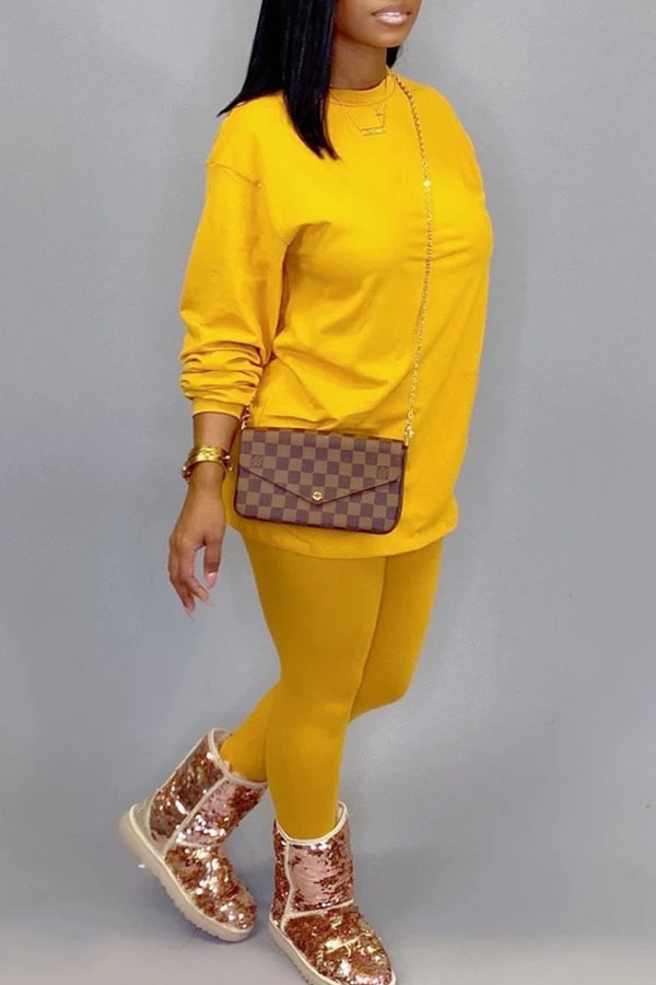 Lovely Leisure O Neck Basic Yellow Two-piece Pants Set