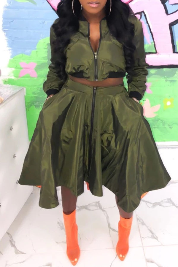 Lovely Casual Turndown Collar Army Green Two-piece Skirt Set