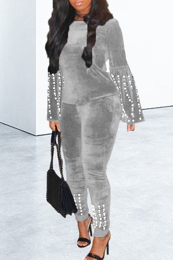Lovely Casual O Neck Nail Bead Design Grey Two-piece Pants Set