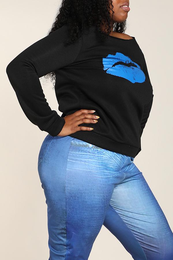 Lovely Casual Lip Printed Blue Plus Size Sweatshirt Hoodie