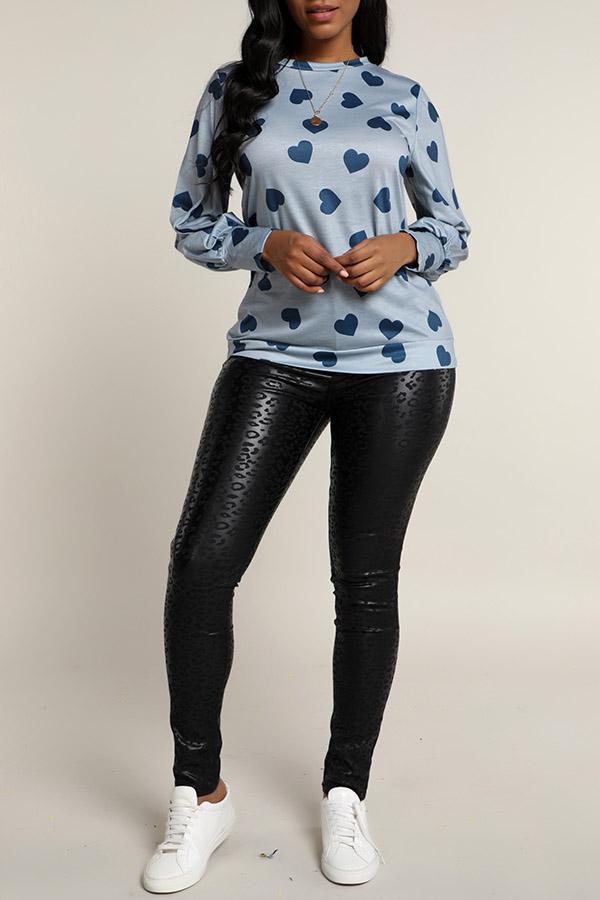 Lovely Casual Printed Grey Sweatshirt Hoodie