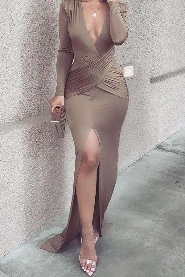 Lovely Party V Neck Cross-over Design Khaki Floor Length Prom Dress