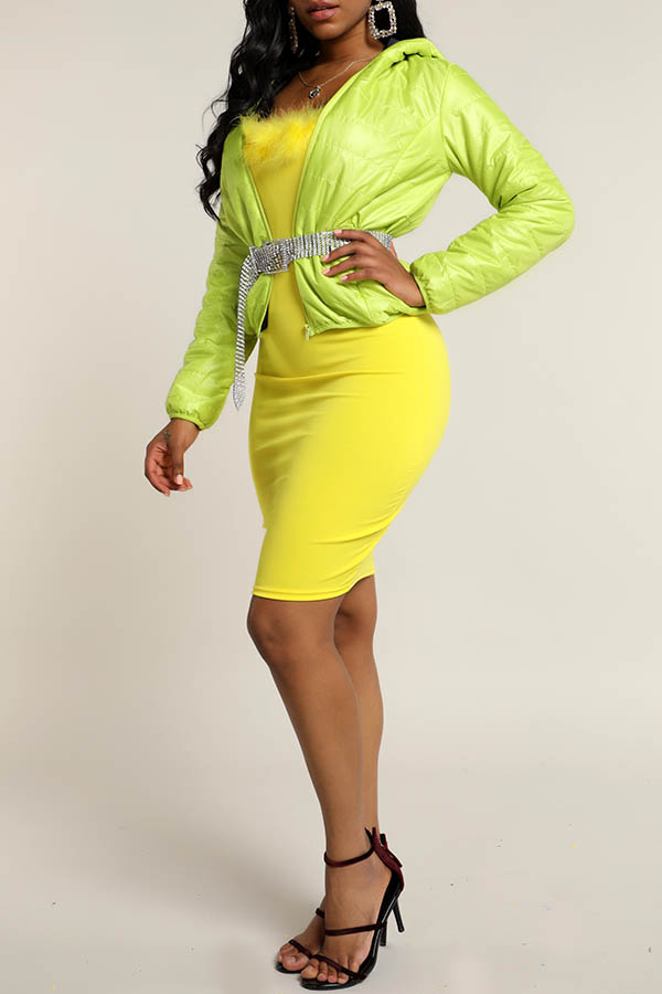 Lovely Casual Hooded Collar Green  Coat(Without Belt)
