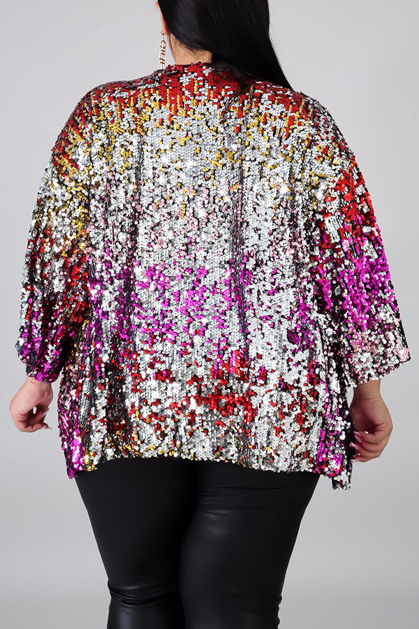Lovely Casual Sequined Multicolor Plus Size Jacket