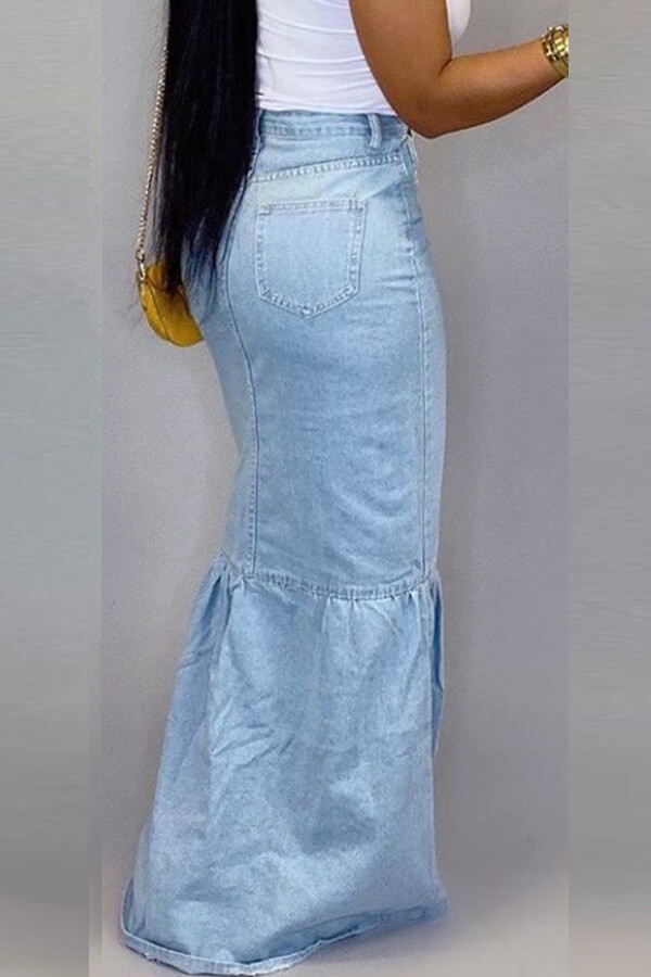 Lovely Casual Patchwork Baby Blue Skirt