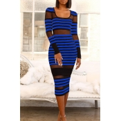 Lovely Sexy Striped Blue Mid Calf Dress