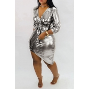 Lovely Trendy V Neck Asymmetrical Silver Mini Dress