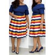 Lovely Casual Striped Dark Blue Knee Length Plus S