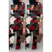Lovely Casual Camouflage Printed Red One-piece Jum