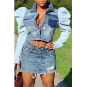 Lovely Casual Patchwork Baby Blue Coat