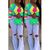 Lovely Casual V Neck Printed Multicolor Sweater