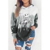 Lovely Hooded Collar Printed Grey Hoodie