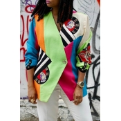 Lovely Casual Patchwork Multicolor Blazer