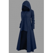 Lovely Casual Asymmetrical Dark Blue Plus Size Hoo