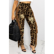 Lovely Casual Tassel Design Leopard Printed Jeans
