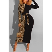 Lovely Casual Leopard Patchwork Black Ankle Length