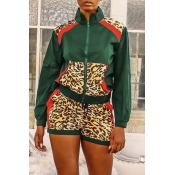 Lovely Casual Turndown Collar Patchwork Blackish Green Two-piece Shorts Set