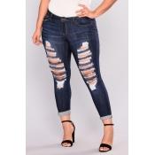 Lovely Denim Casual Solid Pants Regular Mid Yes(El