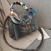 Lovely Trendy Printed Silver Crossbody Bag