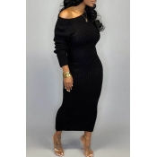 Lovely Casual O Neck Hollow-out Black Ankle Length Dress