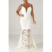 Lovely Party Lace Patchwork White Floor Length Tru