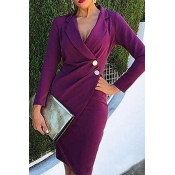 Lovely Work Buttons Design Purple Knee Length Dres
