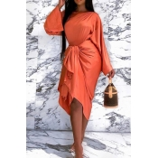 Lovely Casual O Neck Knot Design Orange Knee Lengt