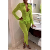 Lovely Sexy See-through Green Two-piece Pants Set
